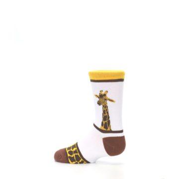 Image of White Brown Giraffe Stripes Kid's Dress Socks (side-2-13)