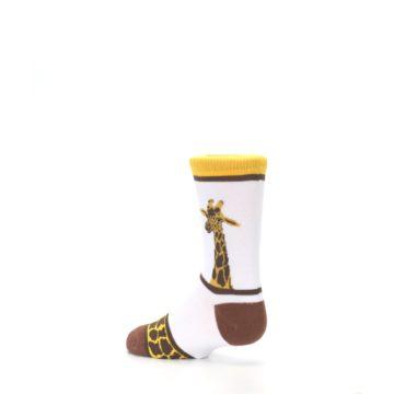 Image of White Brown Giraffe Stripes Kid's Dress Socks (side-2-back-14)