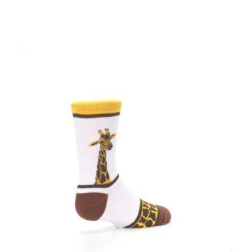 Image of White Brown Giraffe Stripes Kid's Dress Socks (side-1-back-22)