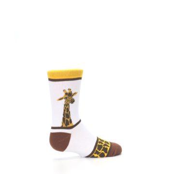 Image of White Brown Giraffe Stripes Kid's Dress Socks (side-1-23)