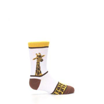 Image of White Brown Giraffe Stripes Kid's Dress Socks (side-1-24)