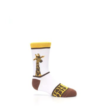 Image of White Brown Giraffe Stripes Kid's Dress Socks (side-1-25)