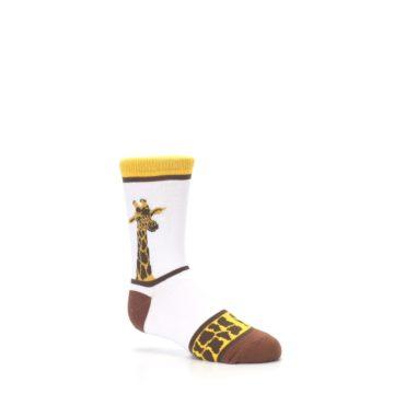 Image of White Brown Giraffe Stripes Kid's Dress Socks (side-1-26)
