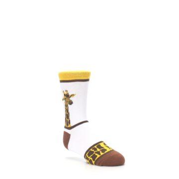 Image of White Brown Giraffe Stripes Kid's Dress Socks (side-1-27)