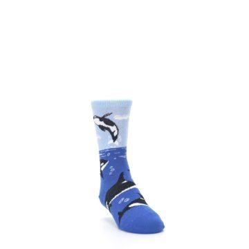 Image of Blue Black Killer Whales Kid's Dress Socks (side-1-front-02)