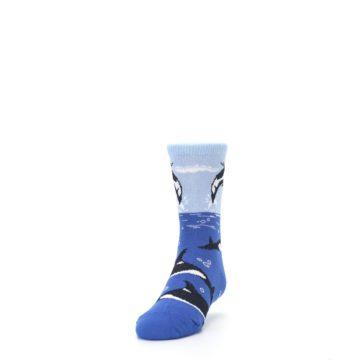 Image of Blue Black Killer Whales Kid's Dress Socks (side-2-front-06)