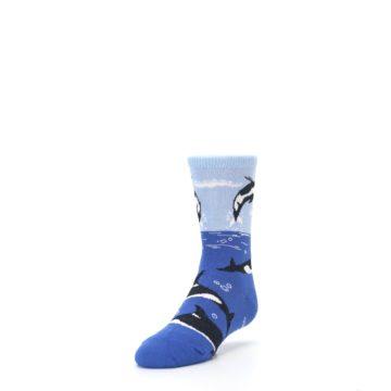 Image of Blue Black Killer Whales Kid's Dress Socks (side-2-front-07)