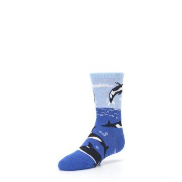 Image of Blue Black Killer Whales Kid's Dress Socks (side-2-front-08)