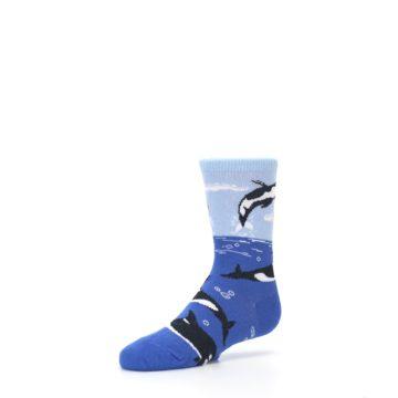 Image of Blue Black Killer Whales Kid's Dress Socks (side-2-09)