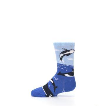 Image of Blue Black Killer Whales Kid's Dress Socks (side-2-12)