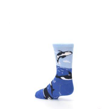 Image of Blue Black Killer Whales Kid's Dress Socks (side-2-back-14)
