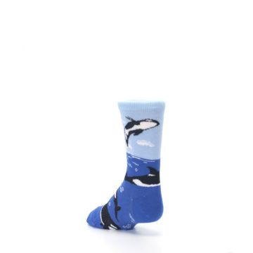 Image of Blue Black Killer Whales Kid's Dress Socks (side-2-back-15)
