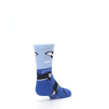 Image of Blue Black Killer Whales Kid's Dress Socks (side-1-back-21)