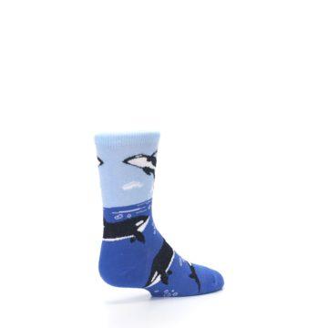 Image of Blue Black Killer Whales Kid's Dress Socks (side-1-back-22)