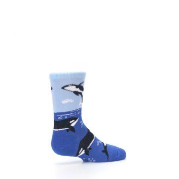 Image of Blue Black Killer Whales Kid's Dress Socks (side-1-23)