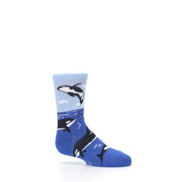 Image of Blue Black Killer Whales Kid's Dress Socks (side-1-25)