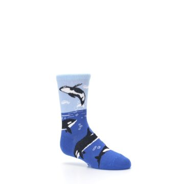 Image of Blue Black Killer Whales Kid's Dress Socks (side-1-26)