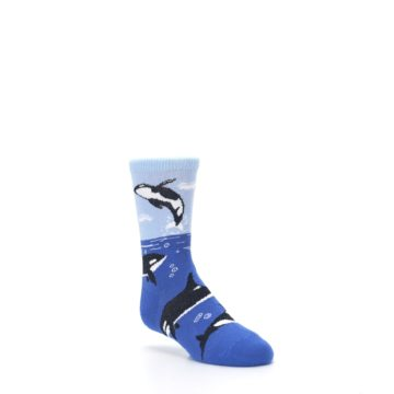 Image of Blue Black Killer Whales Kid's Dress Socks (side-1-27)