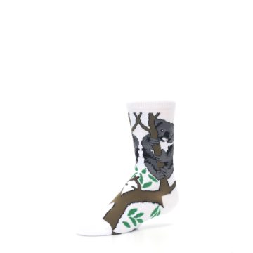 Image of White Gray Koala Bear Kid's Dress Socks (side-2-09)