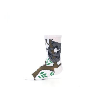 Image of White Gray Koala Bear Kid's Dress Socks (side-2-11)