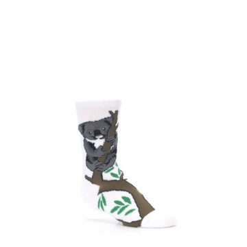 Image of White Gray Koala Bear Kid's Dress Socks (side-1-26)
