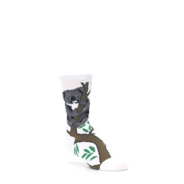 Image of White Gray Koala Bear Kid's Dress Socks (side-1-27)