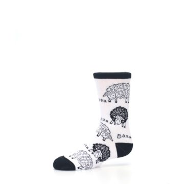 Image of White Black Lots of Sheep Kid's Dress Socks (side-2-10)