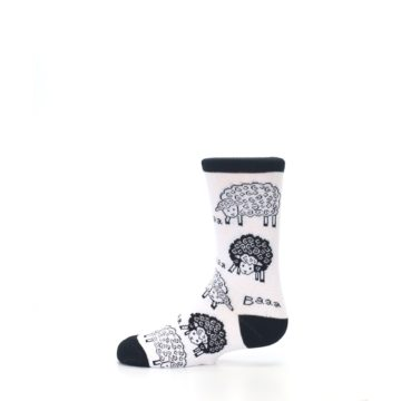 Image of White Black Lots of Sheep Kid's Dress Socks (side-2-12)