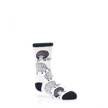 Image of White Black Lots of Sheep Kid's Dress Socks (side-1-26)
