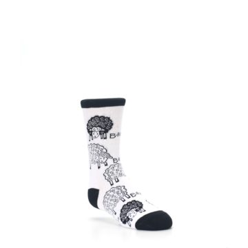 Image of White Black Lots of Sheep Kid's Dress Socks (side-1-27)