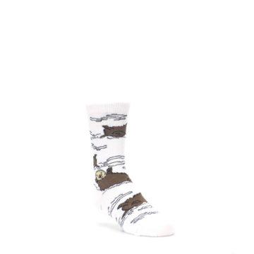 4-9Y-White-Brown-Otters-Kids-Dress-Socks-Wild-Habitat