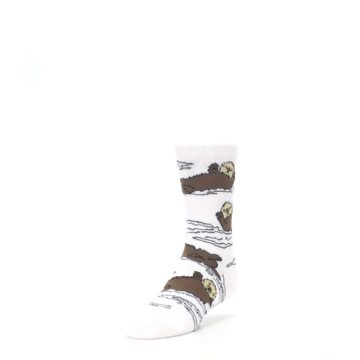 Image of White Brown Otters Kid's Dress Socks (side-2-front-07)