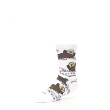 Image of White Brown Otters Kid's Dress Socks (side-2-front-08)