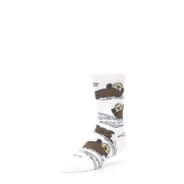 Image of White Brown Otters Kid's Dress Socks (side-2-09)