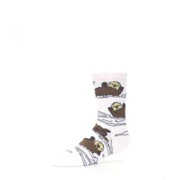 Image of White Brown Otters Kid's Dress Socks (side-2-10)