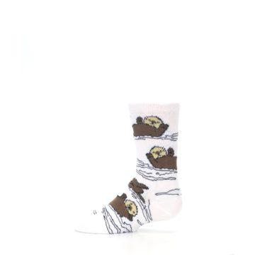 Image of White Brown Otters Kid's Dress Socks (side-2-11)
