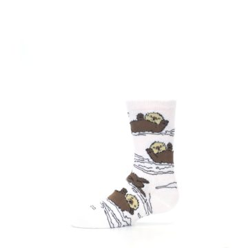 Image of White Brown Otters Kid's Dress Socks (side-2-12)