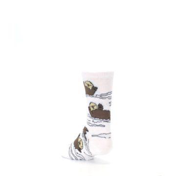 Image of White Brown Otters Kid's Dress Socks (side-2-back-14)
