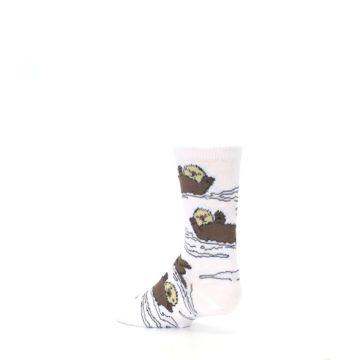 Image of White Brown Otters Kid's Dress Socks (side-2-back-15)
