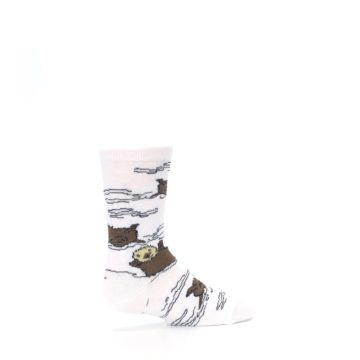 Image of White Brown Otters Kid's Dress Socks (side-1-back-22)