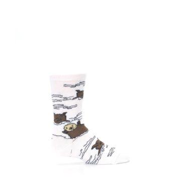 Image of White Brown Otters Kid's Dress Socks (side-1-24)
