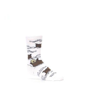 Image of White Brown Otters Kid's Dress Socks (side-1-25)