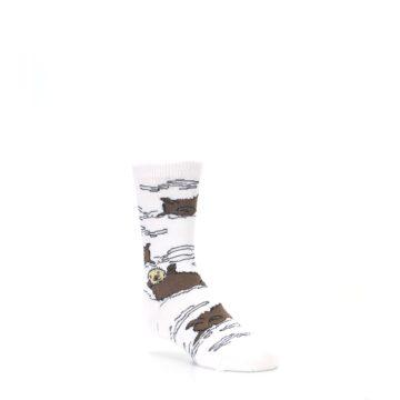 Image of White Brown Otters Kid's Dress Socks (side-1-26)