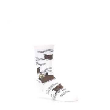 Image of White Brown Otters Kid's Dress Socks (side-1-27)