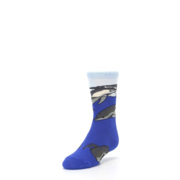 Image of Blue Gray Playful Dolphins Kid's Dress Socks (side-2-front-07)