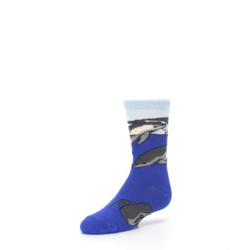 Image of Blue Gray Playful Dolphins Kid's Dress Socks (side-2-front-08)
