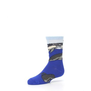 Image of Blue Gray Playful Dolphins Kid's Dress Socks (side-2-09)