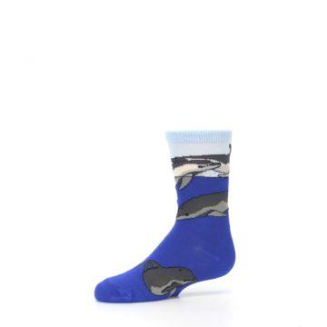 Image of Blue Gray Playful Dolphins Kid's Dress Socks (side-2-10)