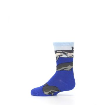 Image of Blue Gray Playful Dolphins Kid's Dress Socks (side-2-12)
