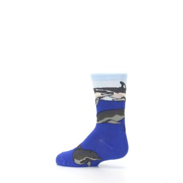 Image of Blue Gray Playful Dolphins Kid's Dress Socks (side-2-13)